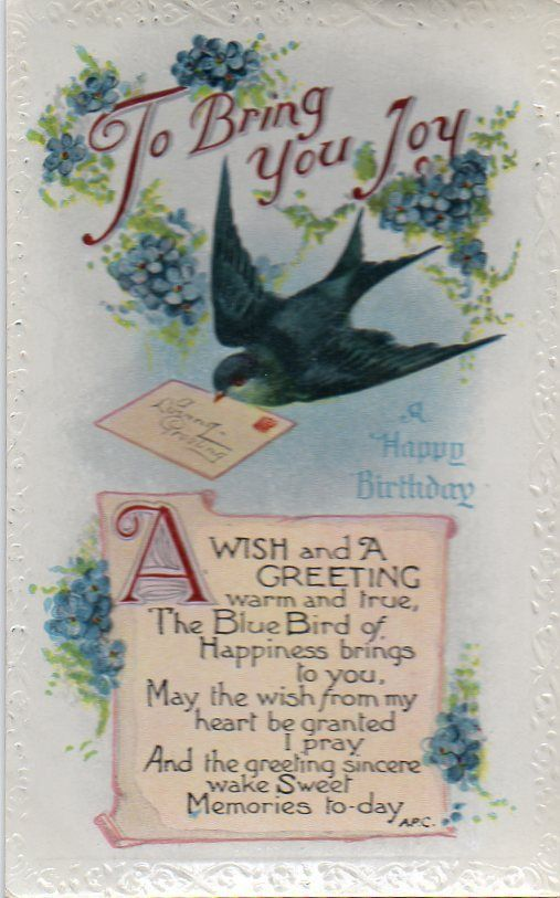 Vintage Bb Birthday Greeting Postcard Of Swallow Bird Letter B