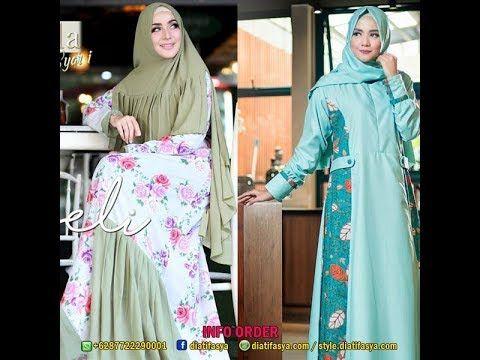 Model Gamis Corak Bunga Kombinasi Polos Model Pakaian Remaja Wanita Wanita Model Pakaian