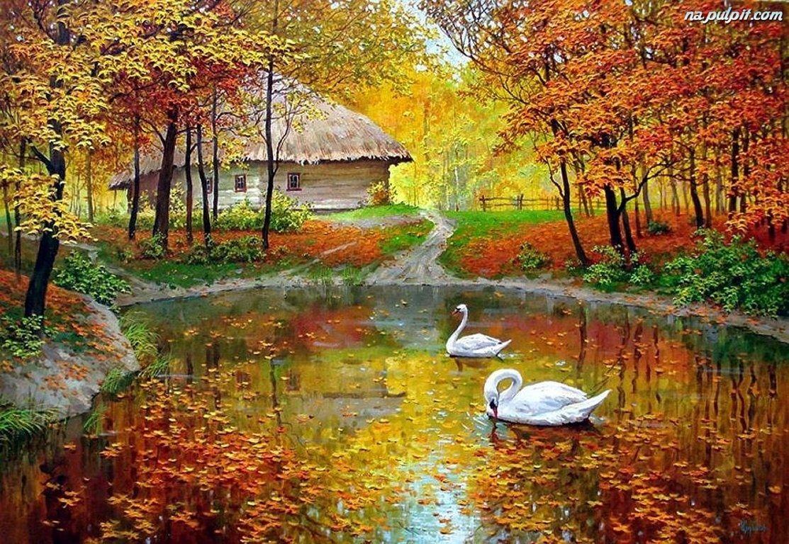 malarstwo-staw-abedzie-domek-jesien.jpeg (1113×768)