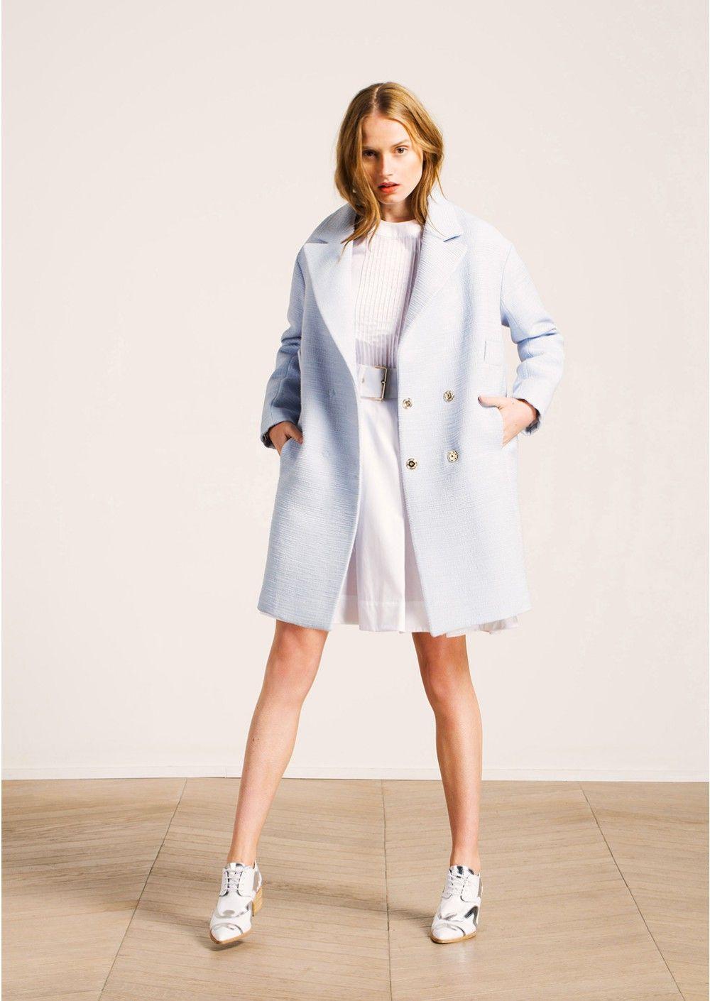manteau oversize en lin rustique bleu ciel femme tara jarmon 3 wedding guest pinterest. Black Bedroom Furniture Sets. Home Design Ideas