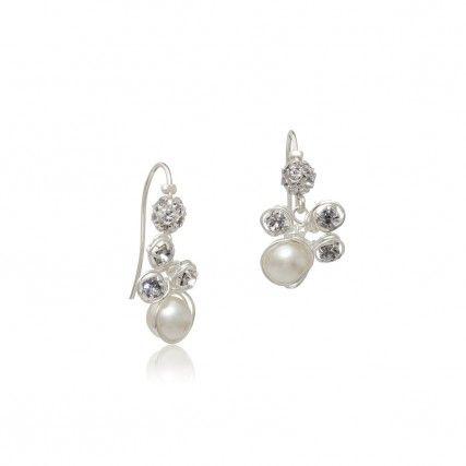 Brautschmuck ohrringe perlen  Brautschmuck Ohrringe Belas Silber Perlen Ivory und Strass ...