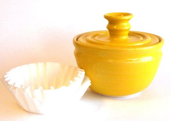 Coffee Filter Storage Jar Bright Yellow Glaze By Risingsky 28 50