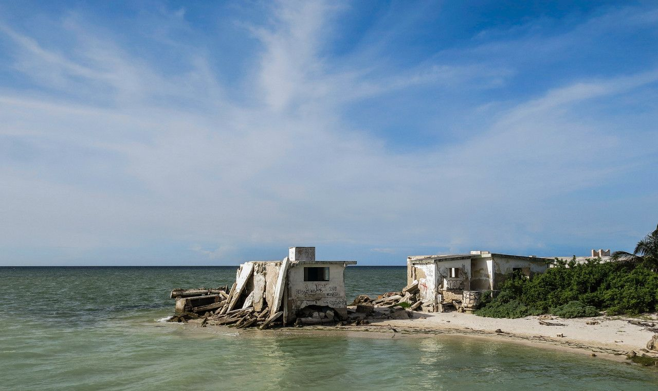 "Ocean view ""housing"" in northern Yucatán, Mexico."