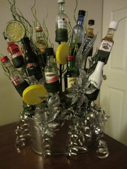 Booze Bouquet for my office Christmas gift exchange ...