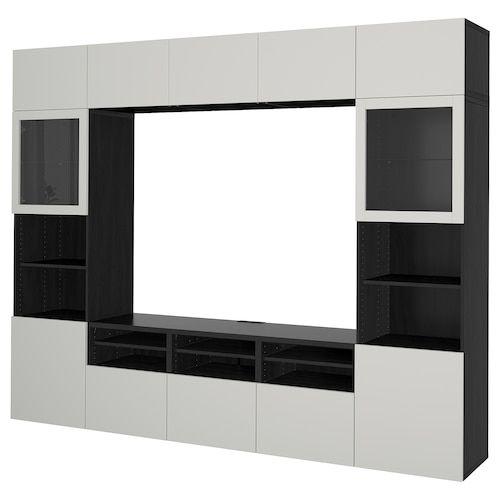 Besta Tv Storage Combination Glass Doors Black Brown Selsviken High Gloss Black Smoked Glass Ikea Tv Storage Ikea Wall Units Ikea Wall