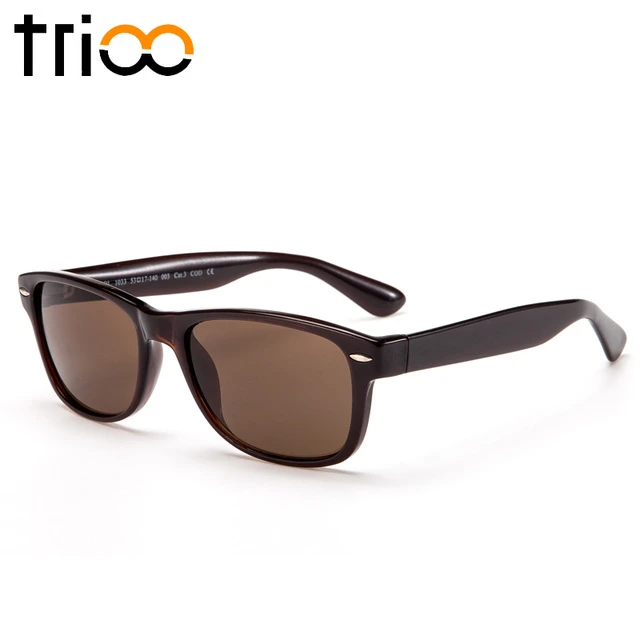 TRIOO Prescription Lens Sunglasses Men Black Square Graduate Unisex Sun Glasses Myopia Nearsightedness Shades UV Block Black