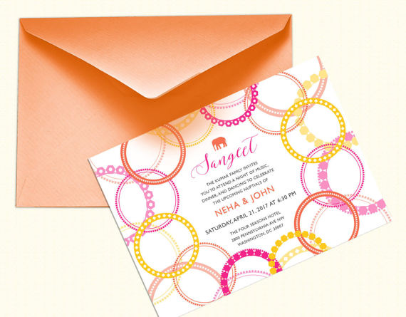 Sangeet Or Mehndi Party Bangle And Elephant Invitation Design Indian Bridal Shower Henna Mehndi Inspired Colorful Baby Shower Invite Indian Bridal Shower Simple Bridal Shower Bangle Ceremony
