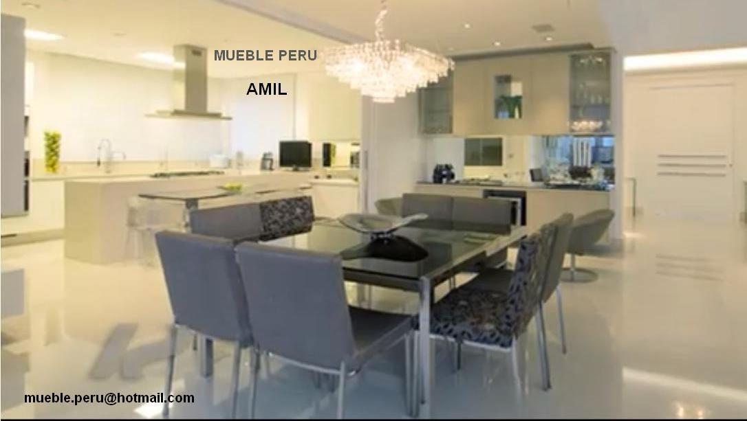 Hermoso comedor amil con moderna mesa de acero y for Muebles elegantes