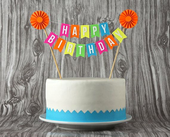 Mini Banner or Cake Bunting Happy Birthday with Rosette in Neon