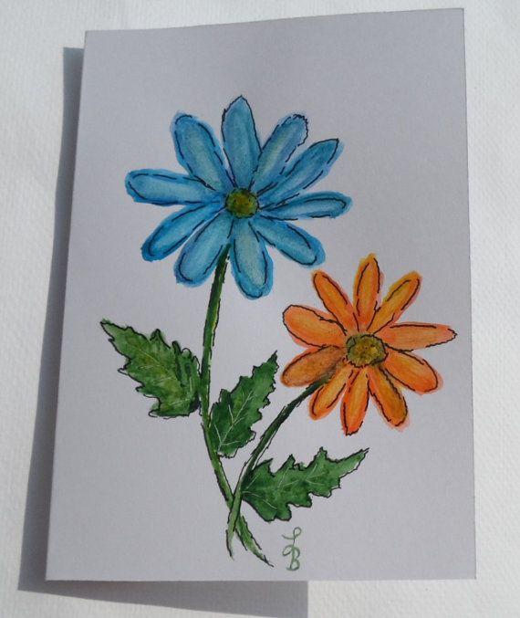 Watercolor Daisy Card Watercolor Daisies by LisasPaintedCrafts