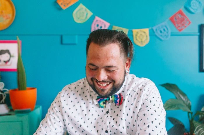 A groom wears bow tie made by his bride | Mexican inspired wedding theme | i take you #wedding