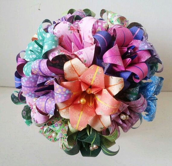 Rainbow Bright Colourful Origami Bouquet Alternative Paper Flowers Bespoke Stargazer Lily Lilybellekeepsakes
