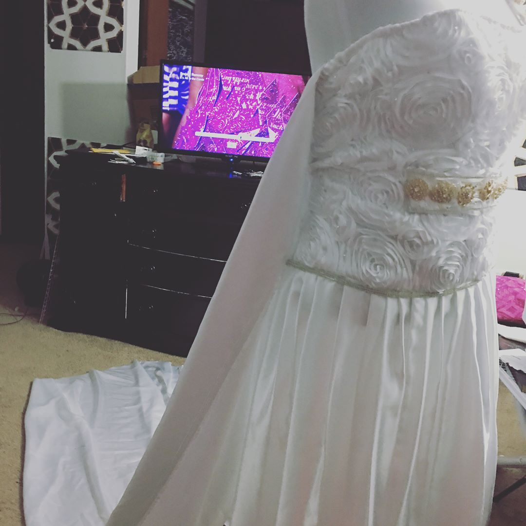 This was my first time ever making a wedding dress ��. It took me 5days plus I had to make a dress for a client.  Tell me how you like it. #heavenlytouchdesigns #weddingdress #couturedress #weddings #bridetobe #bride #fashion #instawedding #prom2k17 #isaidyes #engaged #custom http://gelinshop.com/ipost/1516406638973331114/?code=BULW83LDKaq