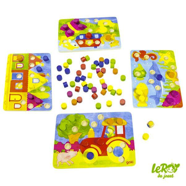 Jeu de couleur**77 éléments**en bois**jouet en bois**goki - jeux de construction de maison en d