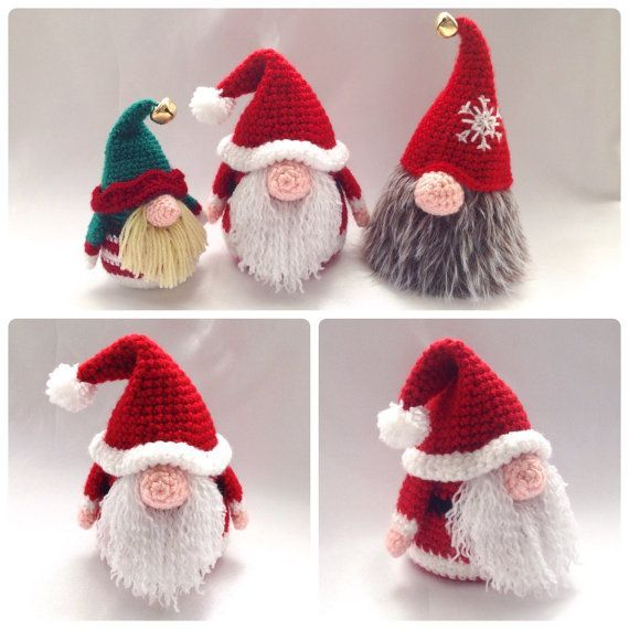 Santa Gonk Christmas Decorations - Crochet PDF Pattern | Navidad ...