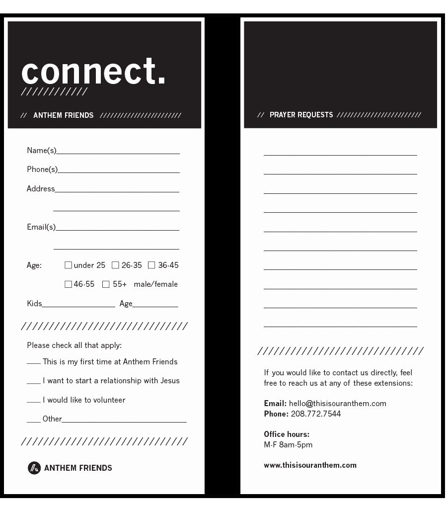 Church Connection Card Template New Connect Cards Church Google Search Church Church Outreach Church Branding