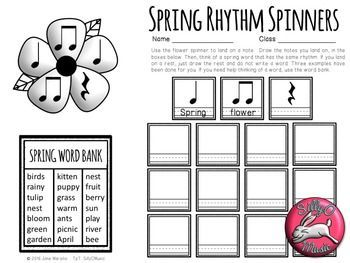 Spring Music Worksheets: Board Games, Printables, & Color