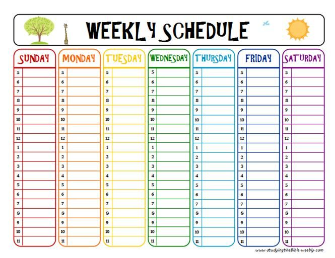 Printable Week Schedule To Help With Homework And After School