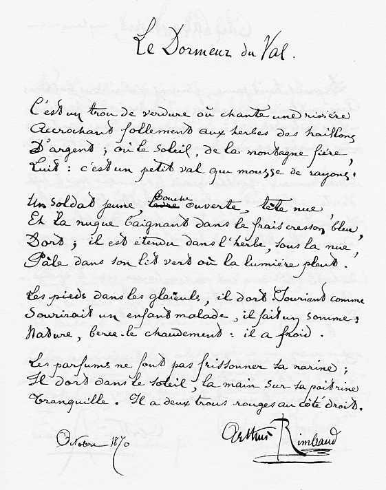 Le dormeur du Val. A. Rimbaud