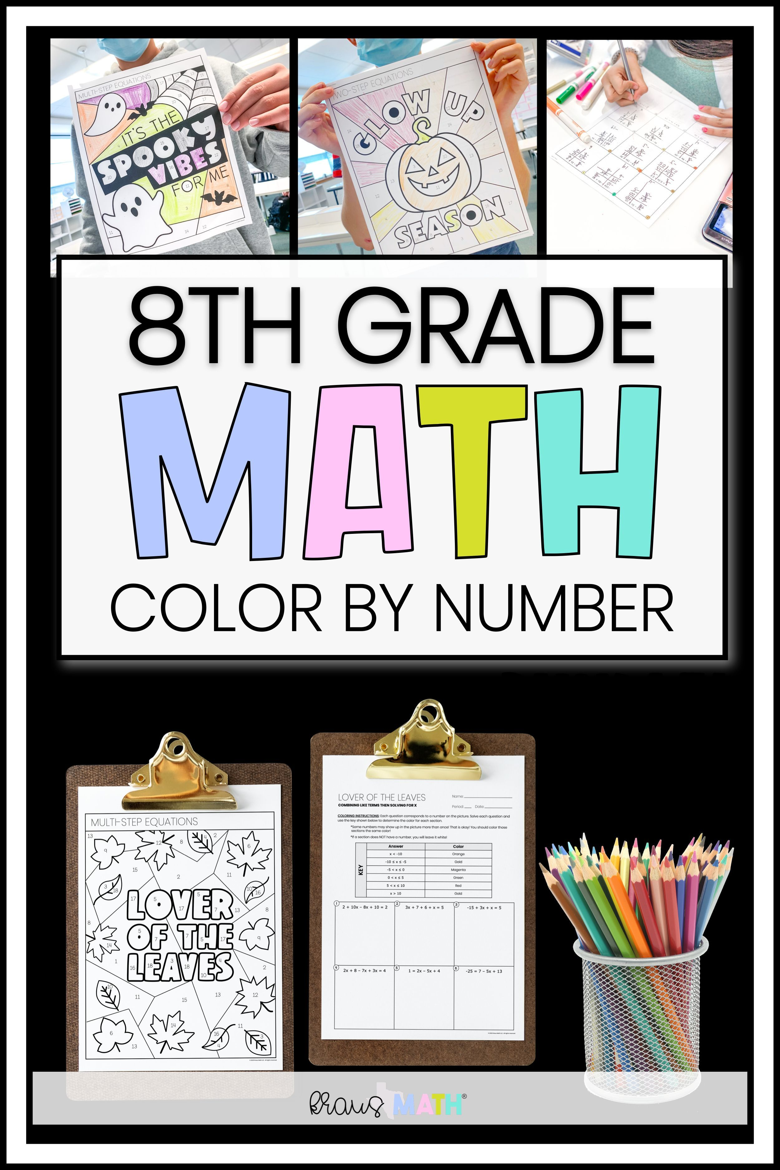 8th Grade Math Multi Step Equations Color By Number Fall Bundle 8 8c Kraus Math 8th Grade Math Multi Step Equations Solving Multi Step Equations [ 3750 x 2500 Pixel ]