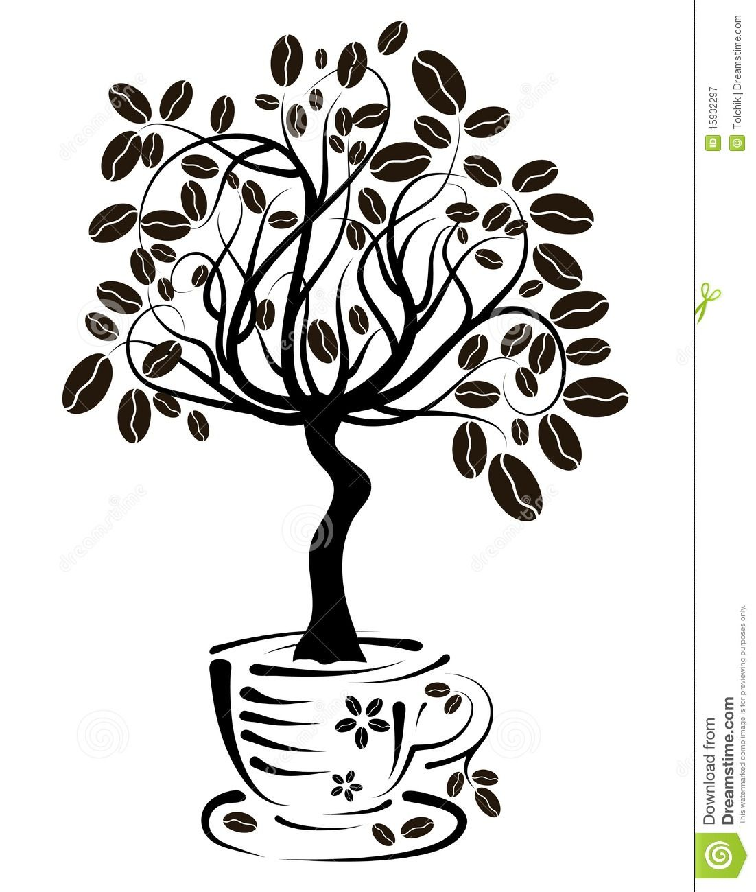 Coffee Tree In A Cup, Vector Royalty Free Stock