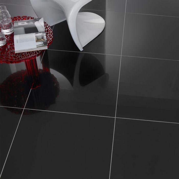 black polished porcelain floor tiles