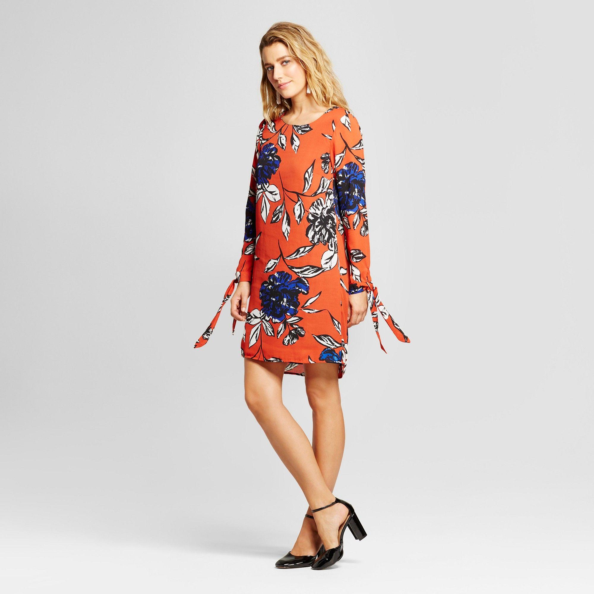 31795b89bd Women s Floral Printed Tie Sleeve Shift Dress - Loramendi Orange Combo XL
