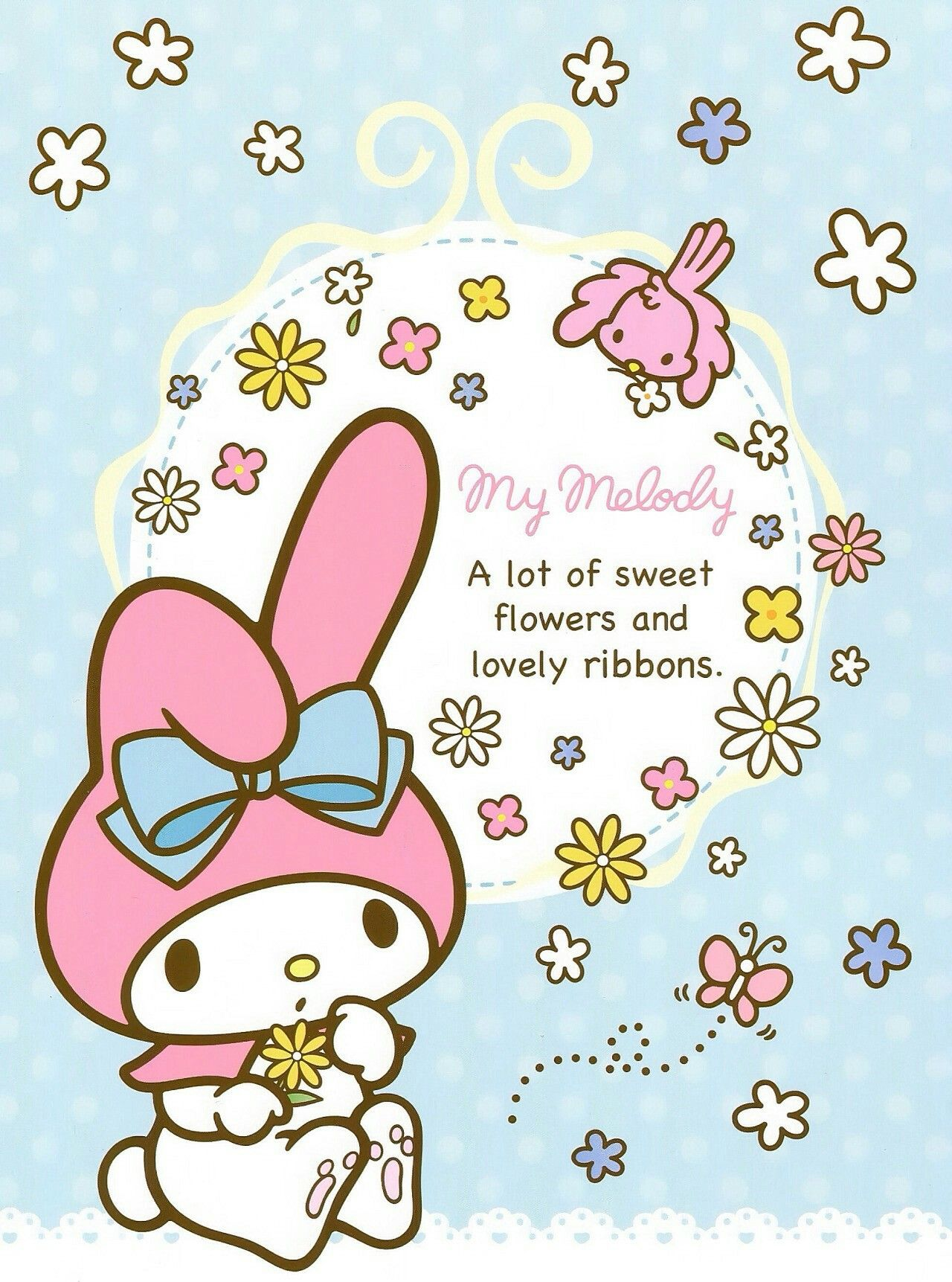 Madlynn Maldonado Picked Blossoming Beneath Blue Sky Hello Kitty My Melody Hello Kitty Printables My Melody Wallpaper