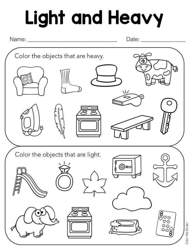 Lesson in a Snap Heavy Light Pocket Chart Sorting Activity – Sorting Worksheet