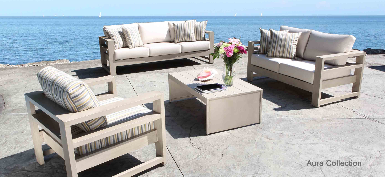 Aura Cast Aluminum Patio Furniture Conversation Set With