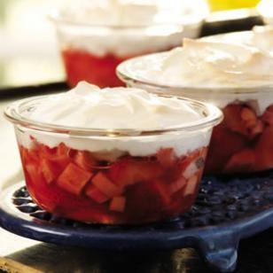Meringue-Topped Strawberries & Rhubarb Recipe