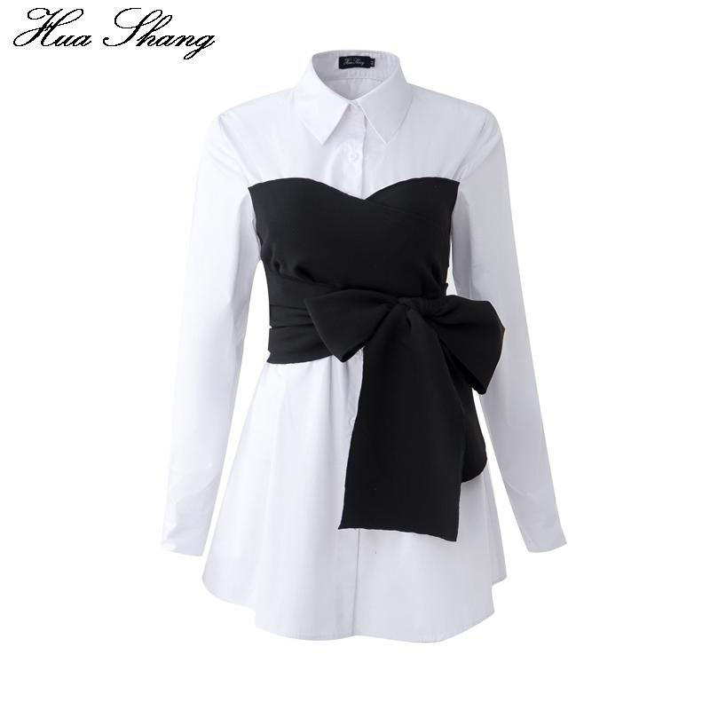 2017 Summer Korean Fashion Tie Shirt Blouse Female Black Bow Long Sleeve White Shirt