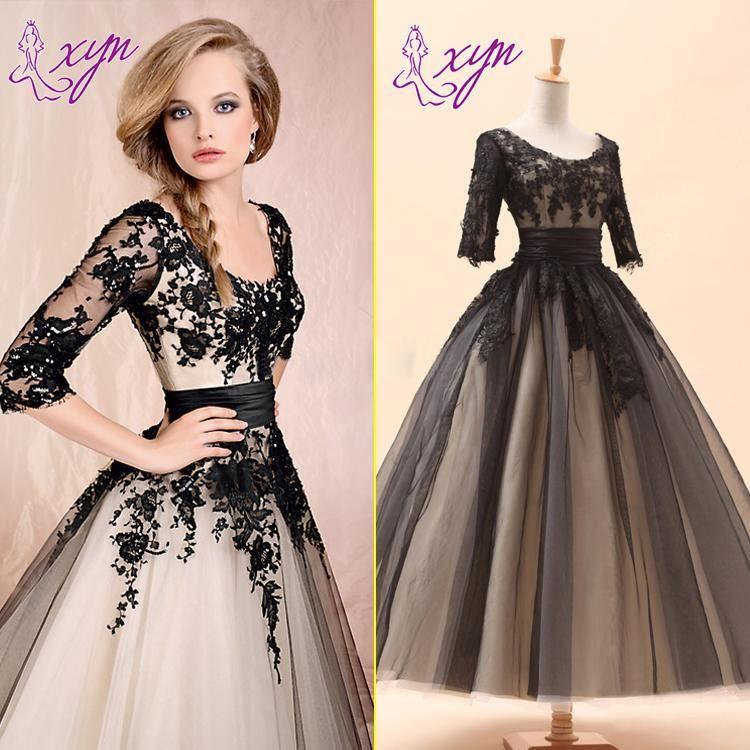 Wholesale Wedding Dresses Buy 2014 Fashion Black Vintage Short Wedding Dresses 3 4 Long Sleeve Vestidos De Fiesta Vestidos De Encaje Vestidos De Baile Largos