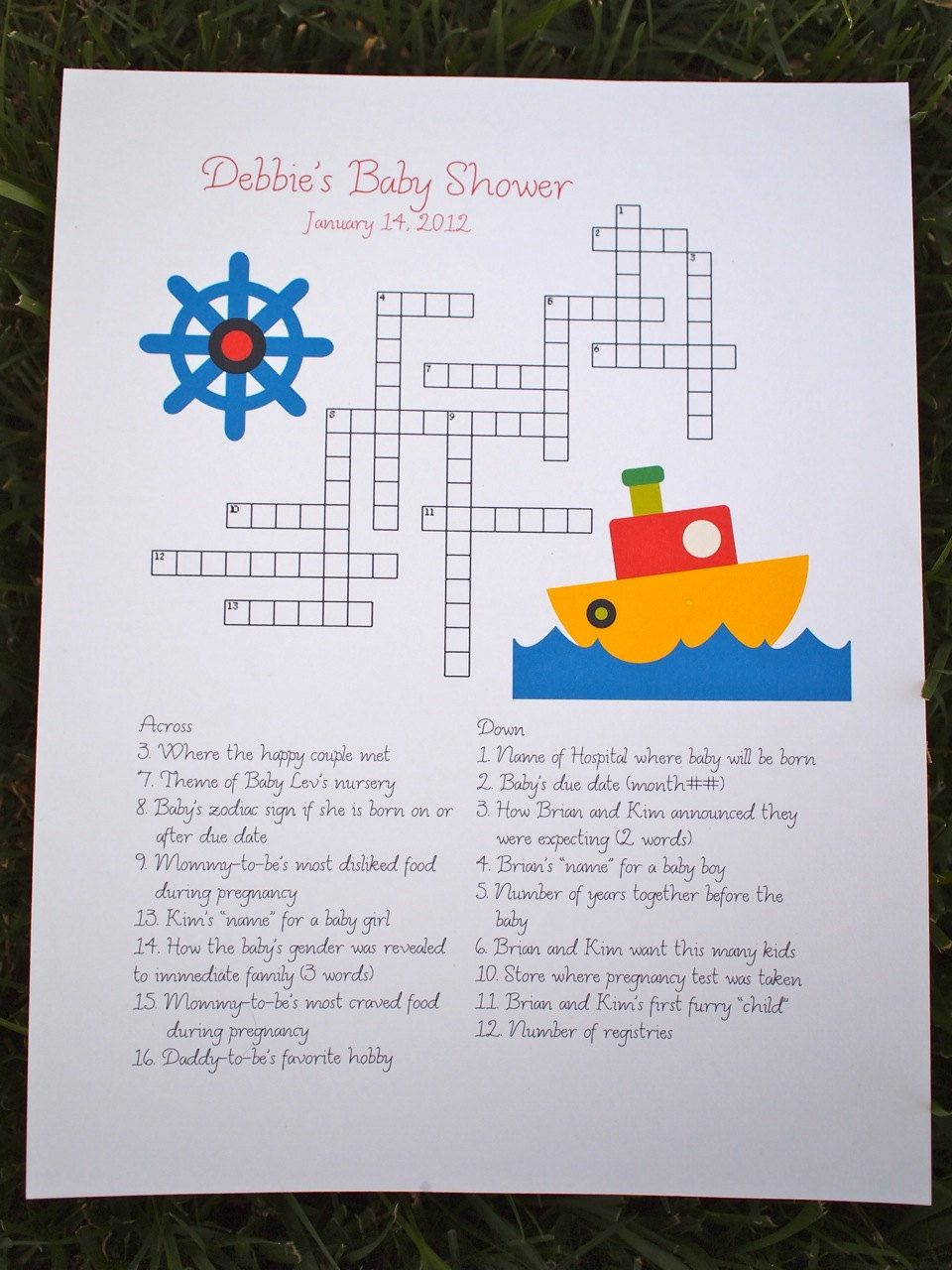 custom baby shower crossword puzzle - boat