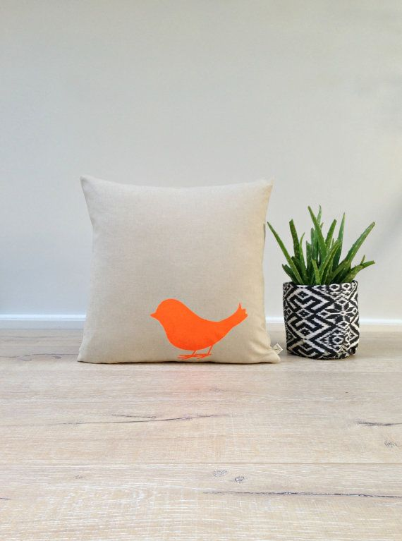Cushion Cover, Pillow Cover, Throw Pillow - Neon Orange Small Bird - Linen Cotton 40x40cm on Etsy, $42.86