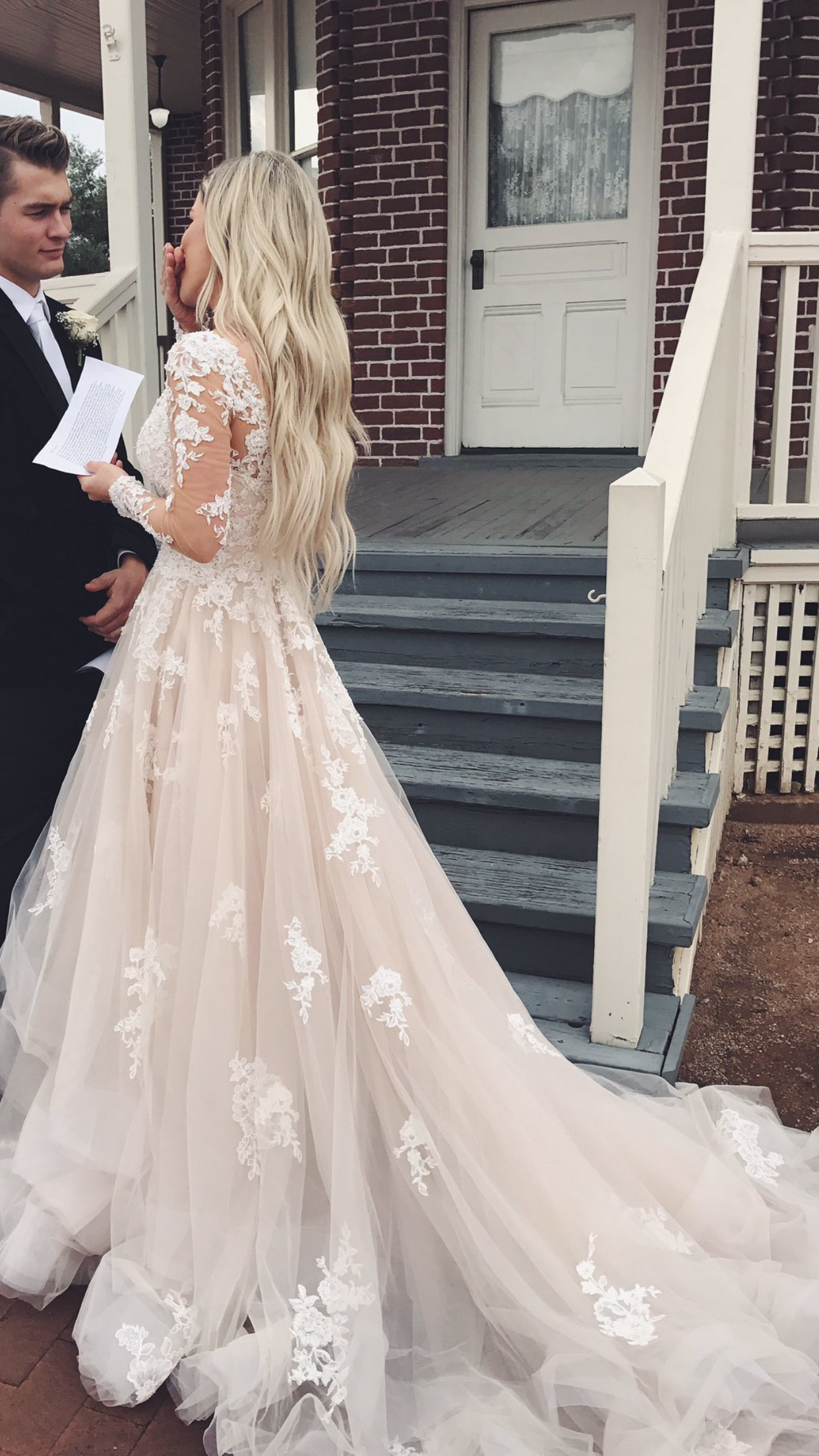 Pin By Hailey Helquist On Happily Ever After Champagne Wedding Dress Lace Bridal Dresses Wedding Dress Long Sleeve [ 2208 x 1242 Pixel ]