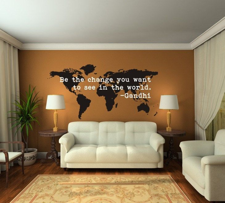 World map wall decal be the change quote modern nursery decor wall decal world map be the change you want to see expressions word gandhi traveler gumiabroncs Gallery