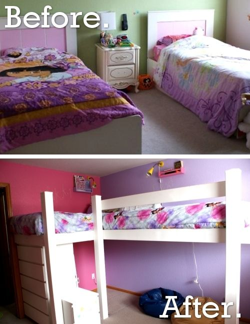 Marvelous Twin Girls Bedroom Redo Disney Paint And Loft Beds Download Free Architecture Designs Grimeyleaguecom