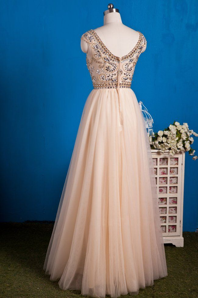 Image of Champagne Tulle Beaded Cap Sleeves Prom Gown