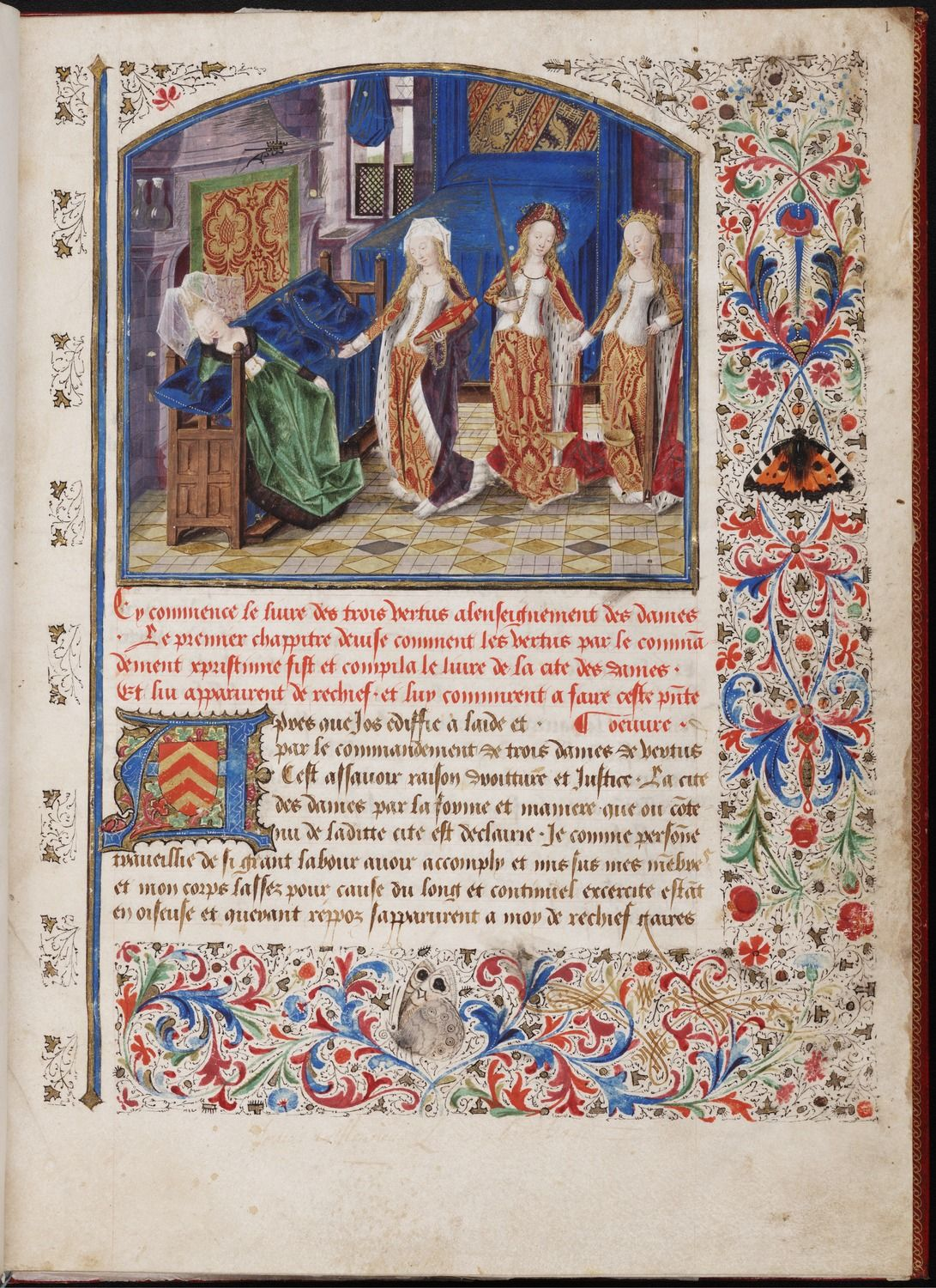 Christine de Pizan, Le Livre des Trois Vertus. [Livre des trois vertues] Call Number:	 Beinecke MS 427  (Request the physical item to view in our reading room) Creator:	Christine, de Pizan, ca. 1364-ca. 1431 Rambures Master, fl. 1454-1475