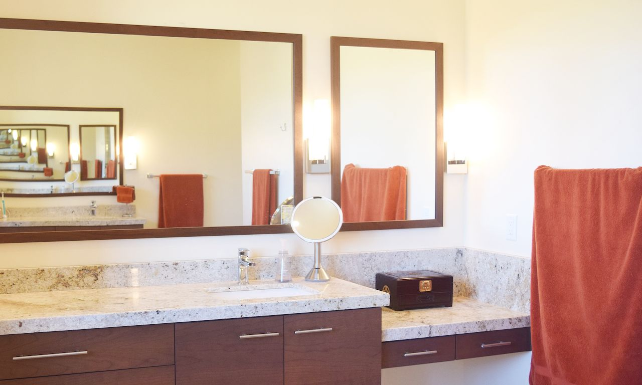 We love the warm feeling these colors bring to this bathroom ...