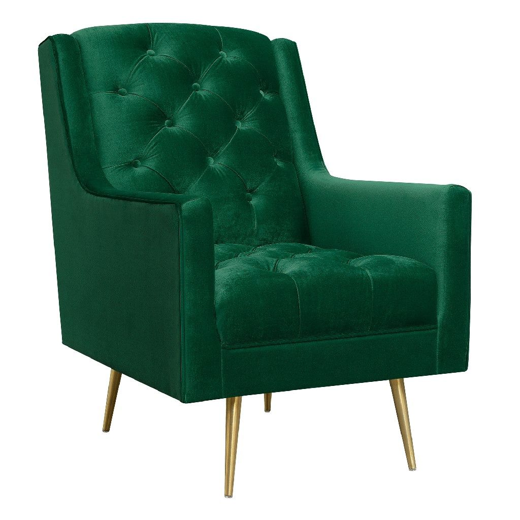 Reese Button Tufted Accent Chair With Gold Legs Picket House
