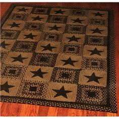 Barn Star Area Rug Navy Blue Braided Rectangle Primitive Country Decor