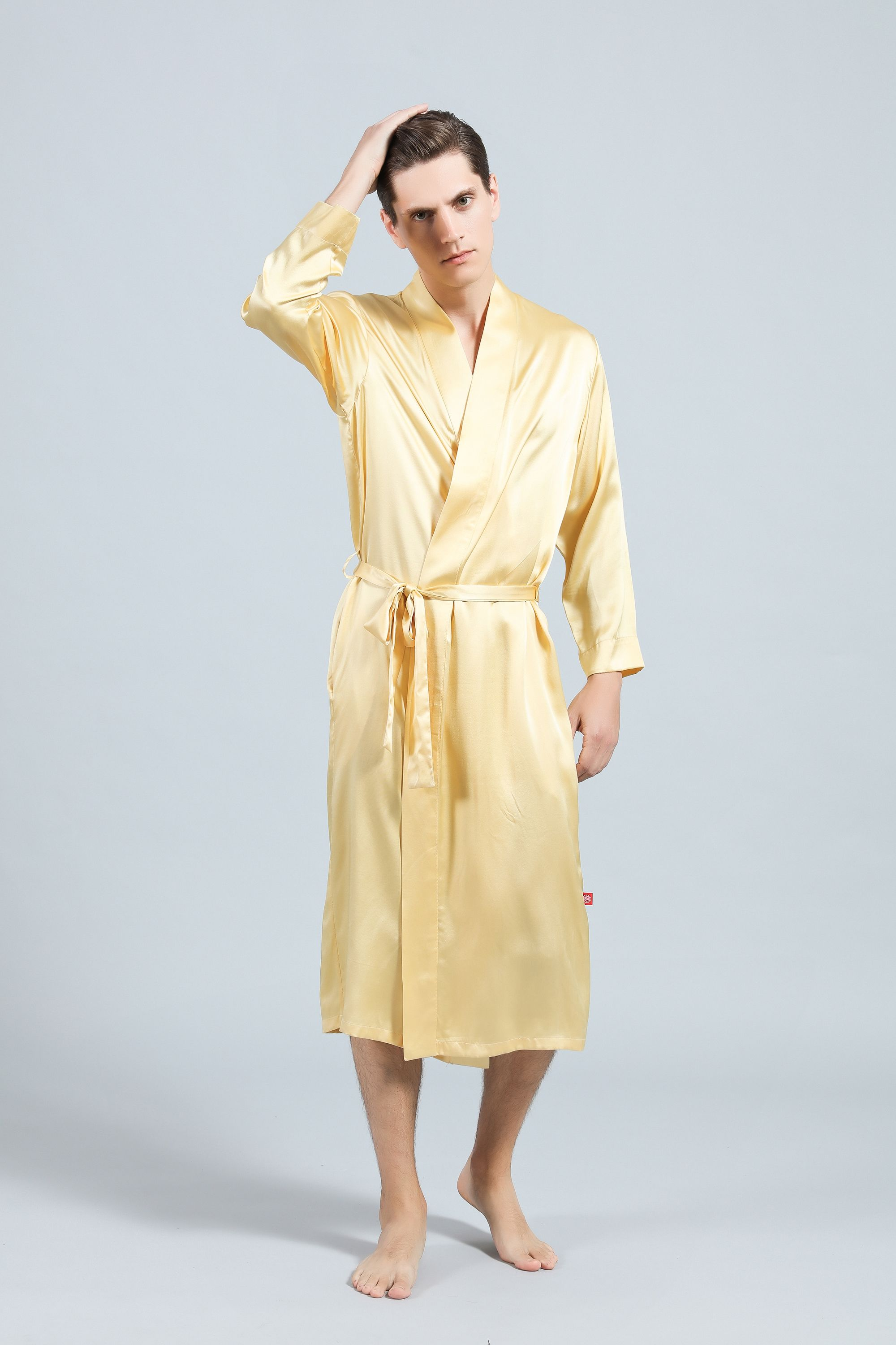 buy cheap modern and elegant in fashion best price Simple Style Silk Robe-Gold | Silk Robes for Men | Silk ...