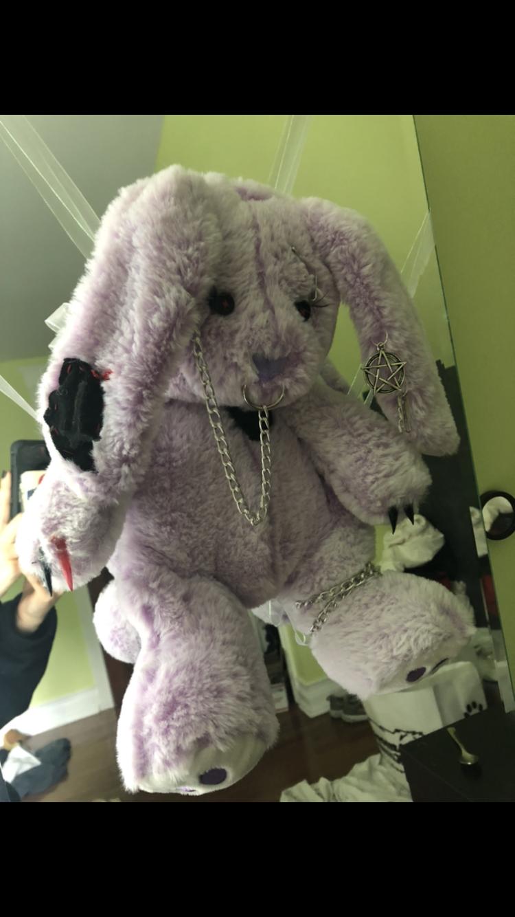 Stuffed Bunny Backpack In 2020 Creepy Stuffed Animals Bunny Backpack Creepy Cute