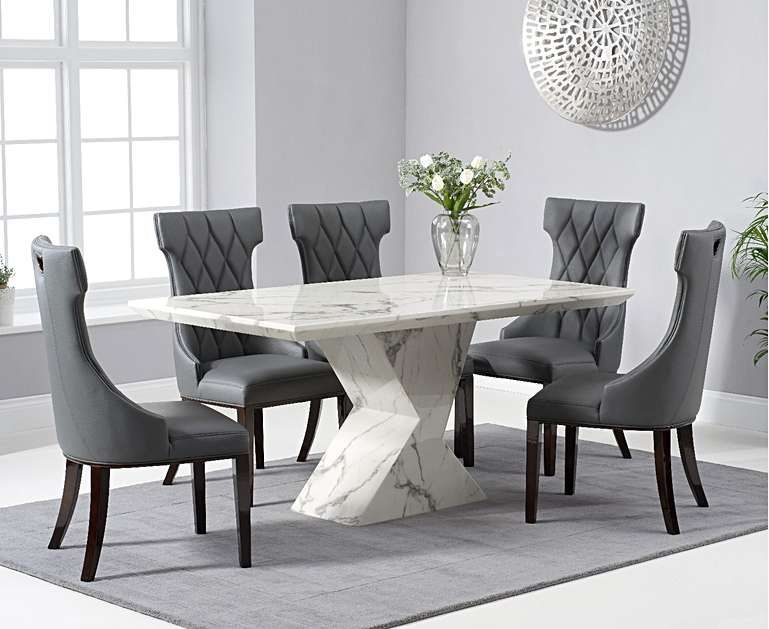 Aaron 160cm White Marble Dining Table With Freya Dining Chairs