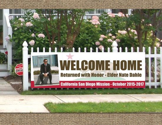 printed welcome home banner lds mission deployment missionary homecoming