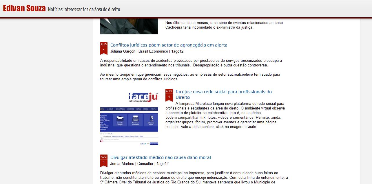 Outra matéria sobre a nova rede social para Advogados.  FACEJUS - Networking Jurídico.    A rede está recebendo mais de 100 novos usuários diariamente, faça parte dela você também.    Acesse: www.facejus.adv.br