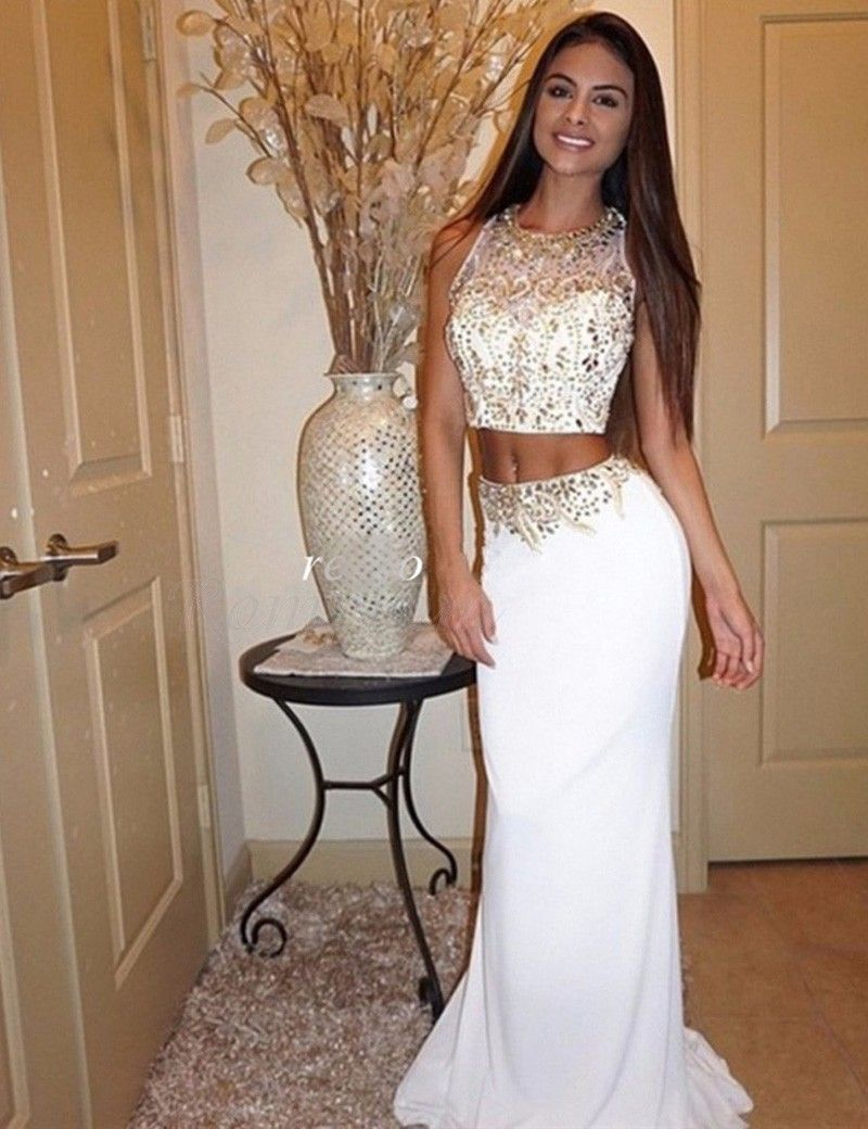 Pretty two piece jewel long white mermaid prom dress with beading in