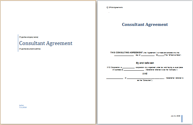 Consultant Agreement Template At Worddoxorg Microsoft Templates - Consulting agreement template word